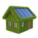 Een groen huis bedekt met gras, met zonnepanelen op het dak. Voorbeeld van groene investeringen.