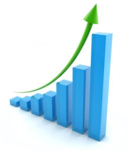 Stijgende beurskoers van aandelen op de aandelenmarkt.